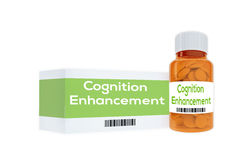 Cognition Enhancement - personalilty concept. 3D illustration of Cognition Enhancement title on pill bottle, isolated on white Stock Photography