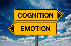 Cognition versus Emotion, Concept of Choice. Cognition versus Emotion, Directional Street Sign Concept of Choice stock images