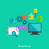 Cognitive and brainstorm flat illustration concept. Royalty Free Stock Photography