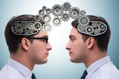 The cognitive computing concept as future technology with businessman stock photography
