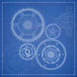 Cogs blueprint stylized draft Royalty Free Stock Image
