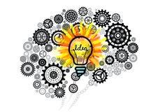 Cogs brain with bulb of an idea. Digital composite of cogs brain with bulb of an idea Stock Photo