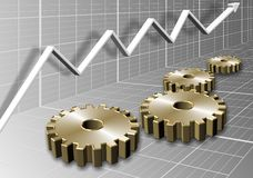 Cogs and chart Stock Images