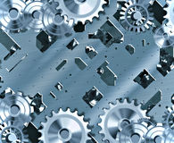 Cogs and clockwork all working together as a team Stock Photo