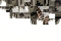 Cogs collage. Assorted steel gears collage on white. Copy space Royalty Free Stock Photo