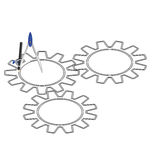 Cogs with a compass Stock Images