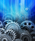 Cogs Data Computer Technology Background. A background of old technology and new using computer circuits and old machine cogs Stock Images