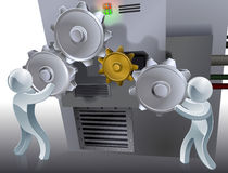 Cogs concept. Ual illustration of two 3d figures working a machine with cogs or gears Royalty Free Stock Photography