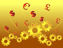 Cogs and currency symbol. In shiny background Stock Photos