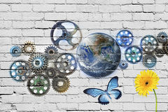 Cogs Earth Graffiti Wall Royalty Free Stock Photography