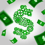 Cogs and falling money Royalty Free Stock Photography