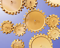 Cogs and gears. Illustration of highly polished interlocking cogs and gears Royalty Free Stock Photography