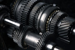 Cogs and gears. Automotive transmission gearbox, cogs and gears Stock Photos