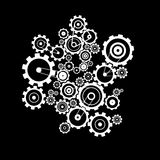 Cogs - Gears on Black Background. Abstract Vector Cogs - Gears on Black Background Royalty Free Stock Photos