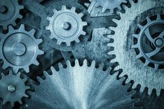 Cogs and gears blue metal background. 3d illustration Royalty Free Stock Image
