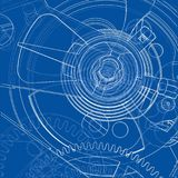 Cogs and Gears of Clock. Vector. Rendering of 3d. Wire-frame style Stock Photography
