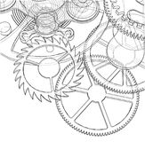 Cogs and Gears of Clock. Vector. Rendering of 3d. Wire-frame style Stock Photo