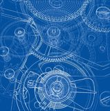 Cogs and Gears of Clock. Vector. Rendering of 3d. Wire-frame style vector illustration
