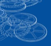 Cogs and Gears of Clock. Vector. Rendering of 3d. Wire-frame style Stock Images