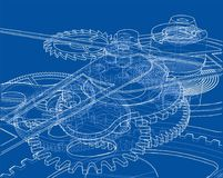 Cogs and Gears of Clock. Vector. Rendering of 3d. Wire-frame style Royalty Free Stock Photos