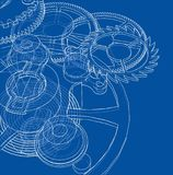 Cogs and Gears of Clock. Vector. Rendering of 3d. Wire-frame style stock illustration