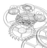 Cogs and Gears of Clock. Vector. Rendering of 3d. Wire-frame style royalty free illustration