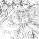 Cogs and Gears of Clock. Vector. Rendering of 3d. Wire-frame style Royalty Free Stock Photo