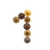 Cogs gears digit number one steampunk ornament style mechanical design Aged shabby bronze golden metal textured shape Royalty Free Stock Photos