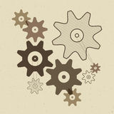 Cogs - Gears Illustration on Recycled Paper Background Stock Photography