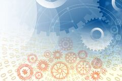 Free Cogs Gears Industrial Global Business Background. Background Integration. Binary Technology Banner Background.vector Illustration. Stock Images - 214661924