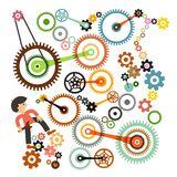 Cogs - Gears and Man. Vector. Royalty Free Stock Images