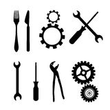 Cogs, Gears, Screwdriver, Pincers, Spanner, Hand Wrench Tools, Knife, Fork. Black Symbols Isolated on White Background - Cogs, Gears, Screwdriver, Pincers Royalty Free Stock Images