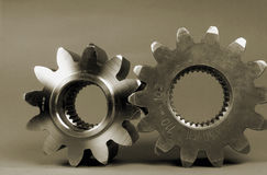 Cogs and gears in sepia. Cogs and gears still life Royalty Free Stock Photos