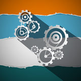 Cogs - Gears - Wheals on Torn Paper Vector Stock Photography