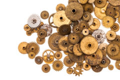Cogs gears wheels steampunk elements on white background. Vintage clockwork parts closeup. Abstract shape object with Stock Image