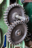 Cogs. 2 cogs with a green background royalty free stock images