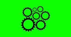 Cogs I kół 4K animacja Z Zielonym Alfa kanałem ilustracja wektor