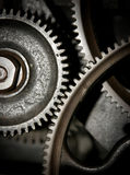 Cogs in a machine. Cog and wheel details from machines of the industrial revolution Stock Photo