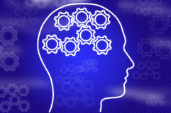 Cogs, racks in head on blue Royalty Free Stock Image