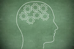 Cogs, racks in head on chalkboard Stock Photos