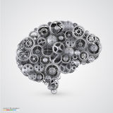 Cogs in the shape of a human brain Stock Images