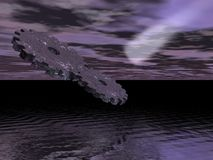 Cogs in Space. 3d rendering of two cogs in space atmosphere over water comet in background stock illustration