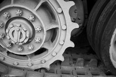 Cogs in the track assembly of a WW2 tank Stock Image