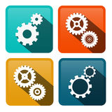 Cogs. Vector Gears Flat Design Icons. On Rounded Squares. Technology Symbols stock illustration