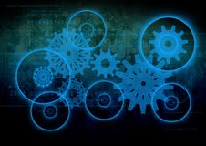 Cogs and wheels on black background Royalty Free Stock Photography