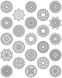 Cogs and wheels icon set. Set of line icons of gears and cogwheels filled with grey Royalty Free Stock Photography