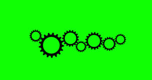 Cogs And Wheels 4K Animation With Green Alpha Channel stock footage