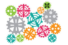 Cogs and wheels set vector illustration on white background. Stock Image
