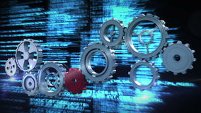 Cogs and wheels turning interface stock footage