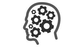 Cogs wirują wśrodku ludzkiej głowy royalty ilustracja
